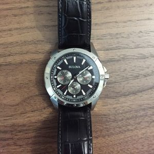 Bulova leather strap watch